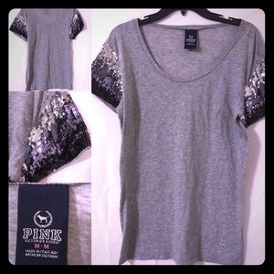 PINK Victoria's Secret short/sequined sleeve top M